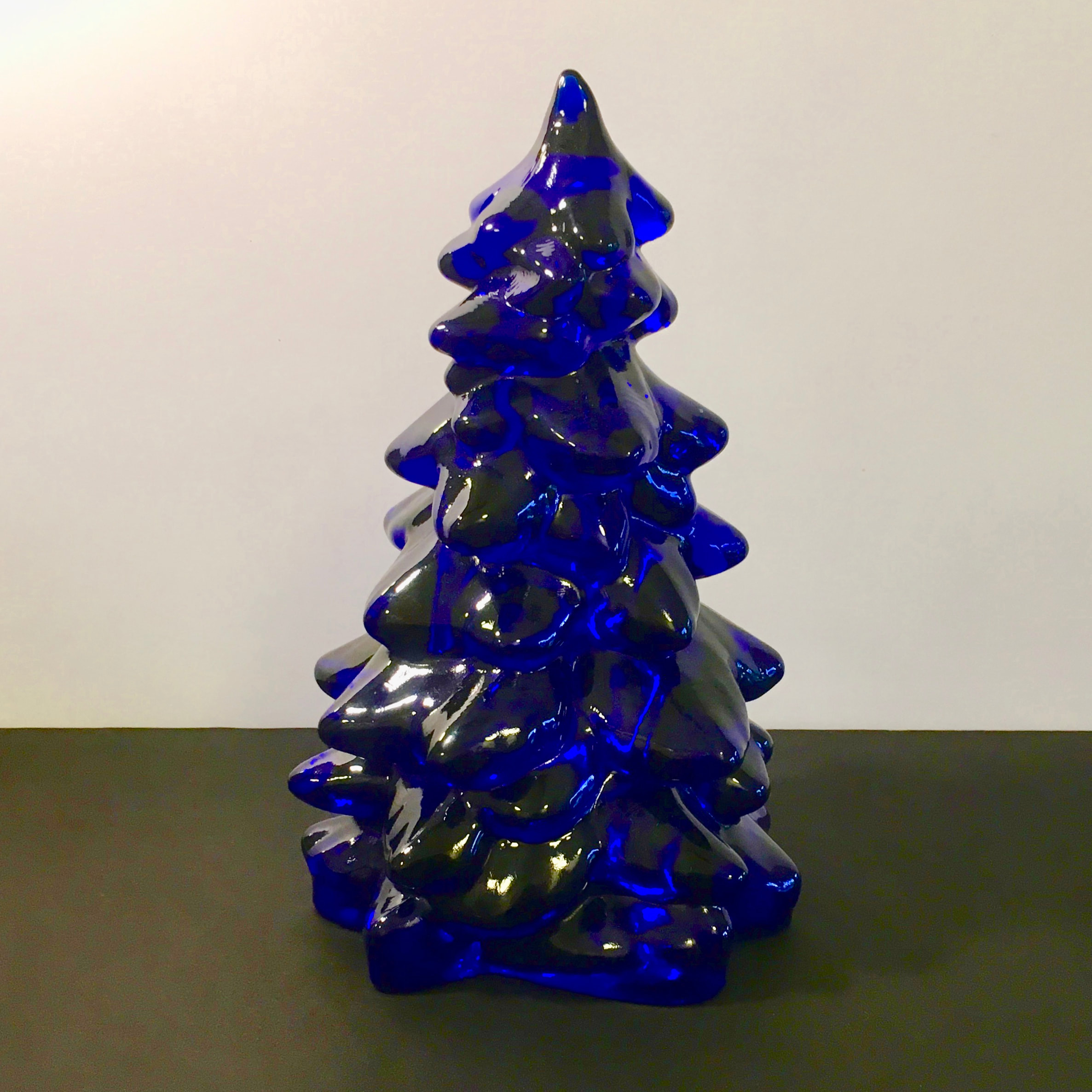 Holiday Glass Christmas Tree Cobalt Blue Large